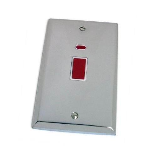 G&H SC28W Spectrum Plate Polished Chrome 45 Amp DP Cooker Switch & Neon Vertical Plate